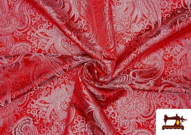 Tela Jacquard de Seda de Colores con Cachemir Plata. color Rojo