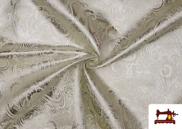 Comprar Tela Jacquard de Seda de Colores con Cachemir Plata. color Plata