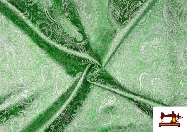 Venta de Tela Jacquard de Seda de Colores con Cachemir Plata. color Verde