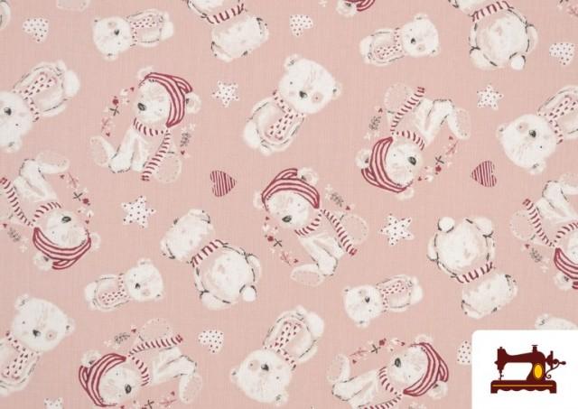 Comprar online Tela de Viella Estampado Algodón Organico color Rosa pálido