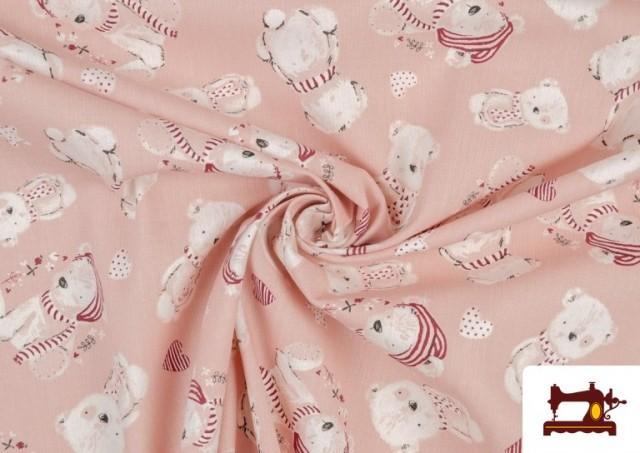 Tela de Viella Estampado Algodón Organico color Rosa pálido