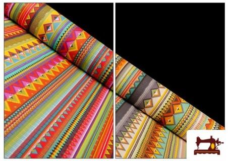 Tela Estampada de Algodón de Rayas Étnicas Multicolor