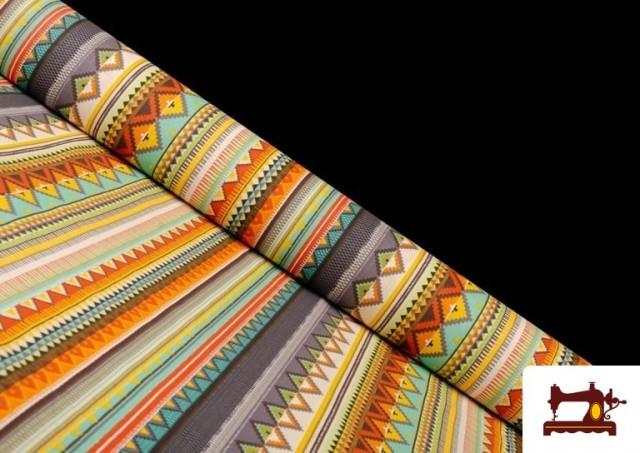 Comprar Tela Estampada de Algodón de Rayas Étnicas Multicolor color Lila