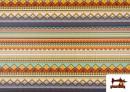 Venta de Tela Estampada de Algodón de Rayas Étnicas Multicolor color Lila