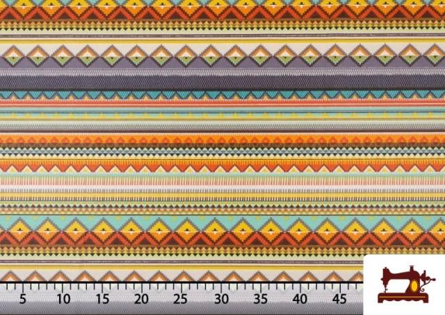 Comprar online Tela Estampada de Algodón de Rayas Étnicas Multicolor color Lila