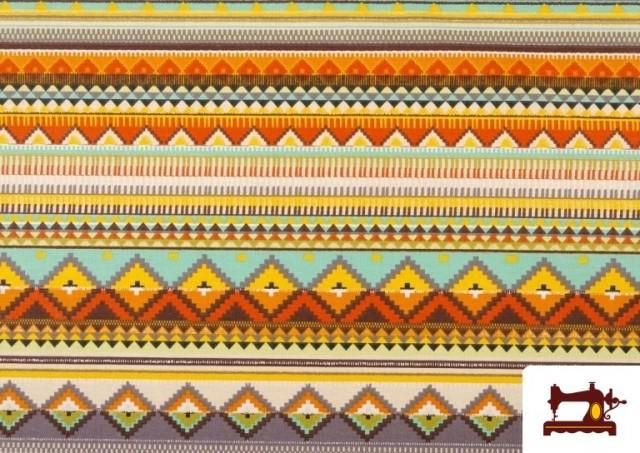 Venta online de Tela Estampada de Algodón de Rayas Étnicas Multicolor color Lila