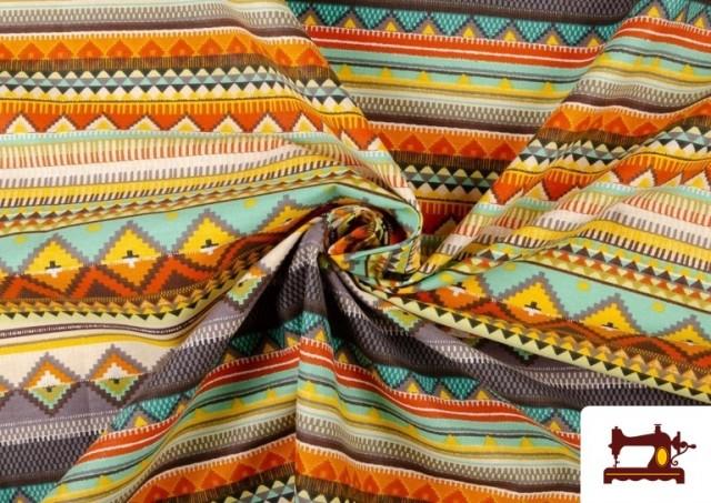 Tela Estampada de Algodón de Rayas Étnicas Multicolor color Lila
