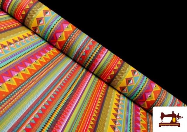 Tela Estampada de Algodón de Rayas Étnicas Multicolor color Rosa