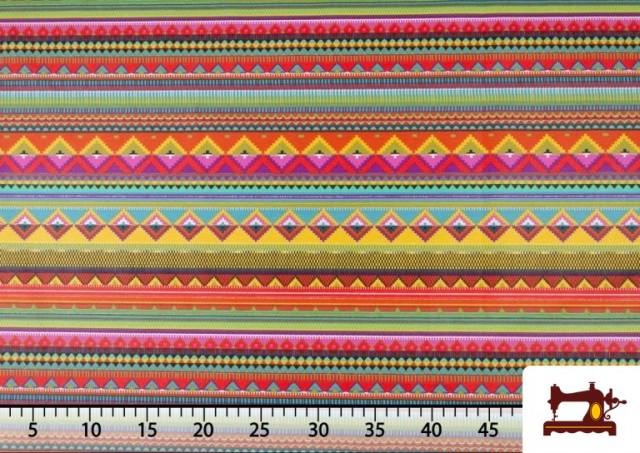 Comprar Tela Estampada de Algodón de Rayas Étnicas Multicolor color Rosa