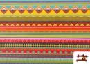 Venta de Tela Estampada de Algodón de Rayas Étnicas Multicolor color Rosa