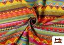 Comprar online Tela Estampada de Algodón de Rayas Étnicas Multicolor color Rosa