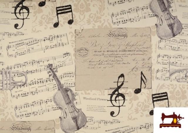Tela de Decoración con Motivos de  Música Clásica Notas Musicales Violines y Trompetas color Beige