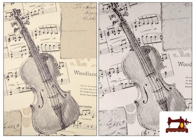 Comprar Tela de Decoración con Motivos de  Música Clásica Notas Musicales Violines y Trompetas