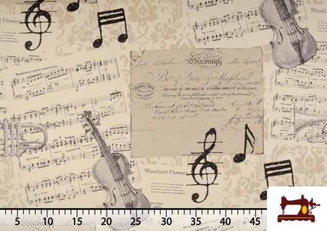 Venta de Tela de Decoración con Motivos de  Música Clásica Notas Musicales Violines y Trompetas color Beige