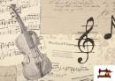 Comprar online Tela de Decoración con Motivos de  Música Clásica Notas Musicales Violines y Trompetas color Beige