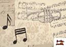 Venta online de Tela de Decoración con Motivos de  Música Clásica Notas Musicales Violines y Trompetas color Beige
