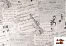 Tela de Decoración con Motivos de  Música Clásica Notas Musicales Violines y Trompetas color Blanco