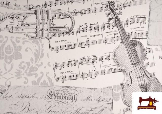 Comprar Tela de Decoración con Motivos de  Música Clásica Notas Musicales Violines y Trompetas color Blanco
