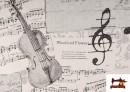 Venta de Tela de Decoración con Motivos de  Música Clásica Notas Musicales Violines y Trompetas color Blanco