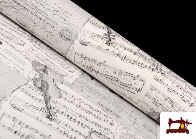 Comprar online Tela de Decoración con Motivos de  Música Clásica Notas Musicales Violines y Trompetas color Blanco