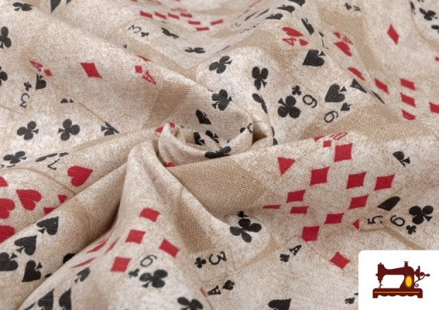 Venta online de Tela de Loneta Estampada con Cartas de Poker