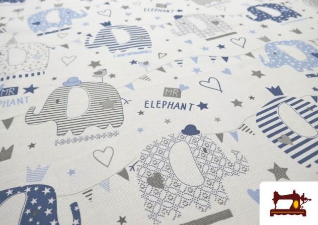 Comprar online Tela de Pique de Algodón Estampado de Elefantes