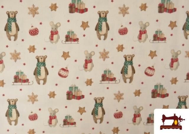 Venta de Tela de Navidad Estampado Ositos y Ratones