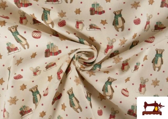 Venta online de Tela de Navidad Estampado Ositos y Ratones