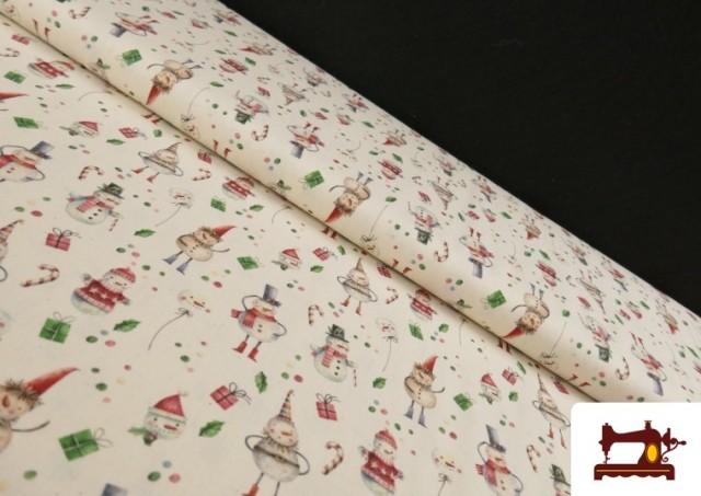 Tela de Algodón de Navidad Muñecos de Nieve
