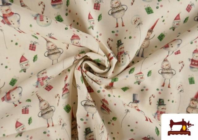 Venta online de Tela de Algodón de Navidad Muñecos de Nieve