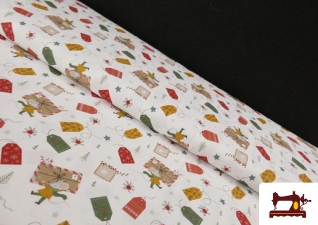 Tela de Algodón de Cartas Deseos de Navidad