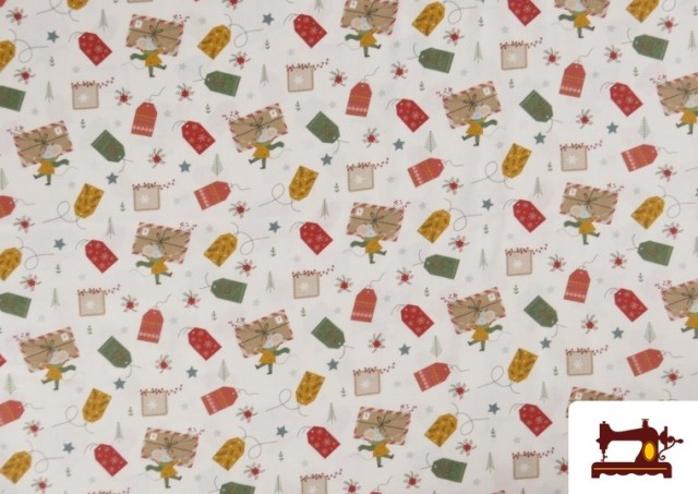 Comprar Tela de Algodón de Cartas Deseos de Navidad