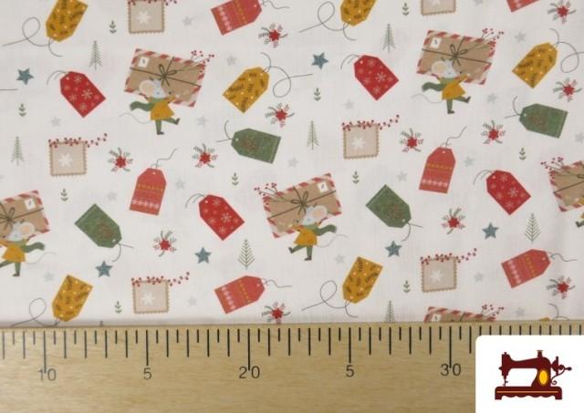 Comprar online Tela de Algodón de Cartas Deseos de Navidad
