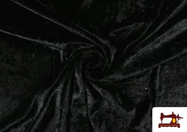 Tela de Terciopelo Económico Martele color Negro