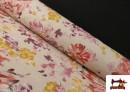 Loneta de Flores color Pastel Peonias