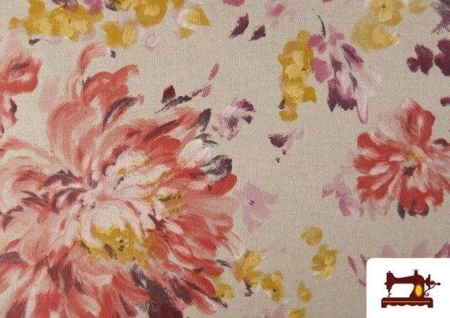 Venta de Loneta de Flores color Pastel Peonias