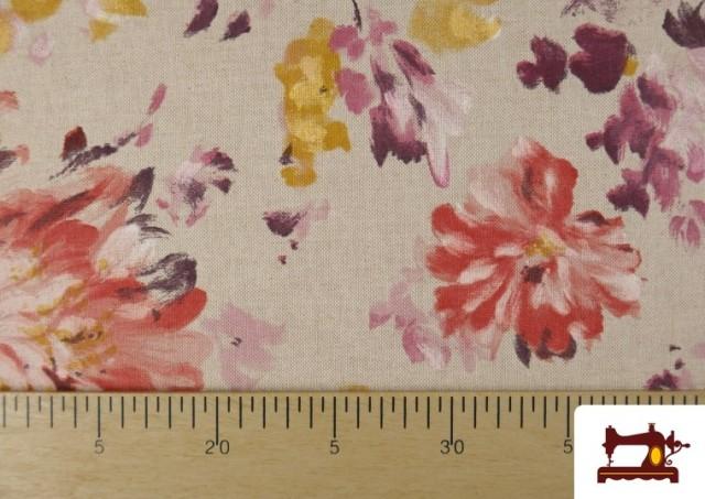 Comprar online Loneta de Flores color Pastel Peonias