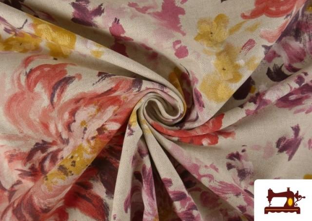 Venta online de Loneta de Flores color Pastel Peonias