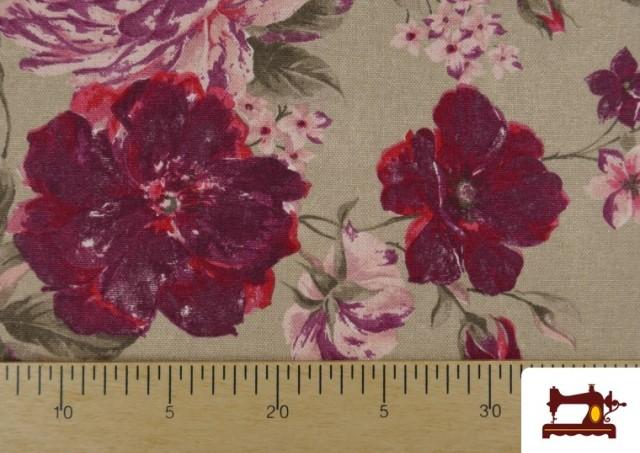 Comprar online Tela de Loneta de Flores Granates