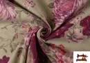 Venta online de Tela de Loneta de Flores Granates