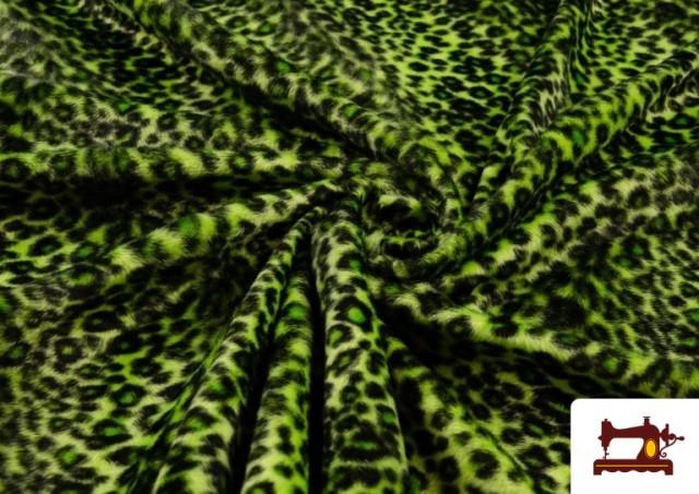 Venta online de Tela de pelo de leopardo de colores color Pistacho