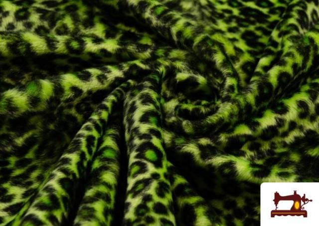 Comprar online Tela de pelo de leopardo de colores color Pistacho