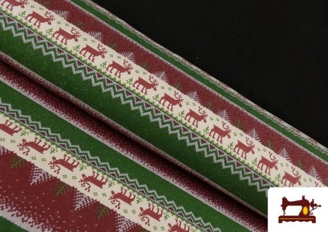 Comprar Tela de Sudadera Imitación Jersey de Navidad color Rojo