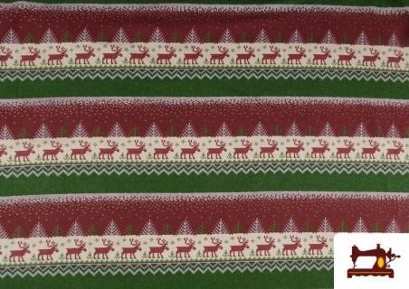 Venta de Tela de Sudadera Imitación Jersey de Navidad color Rojo