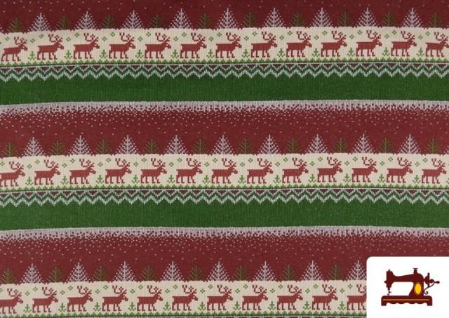 Comprar online Tela de Sudadera Imitación Jersey de Navidad color Rojo