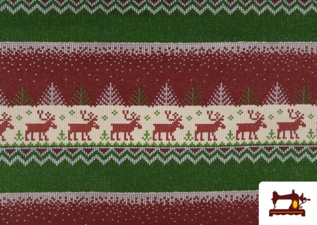 Venta online de Tela de Sudadera Imitación Jersey de Navidad color Rojo