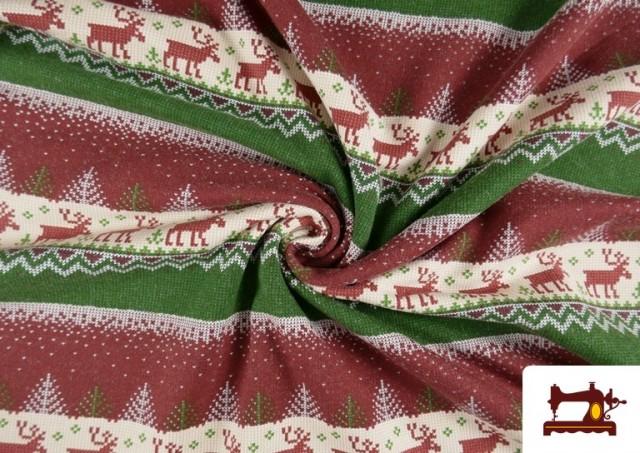 Tela de Sudadera Imitación Jersey de Navidad color Rojo