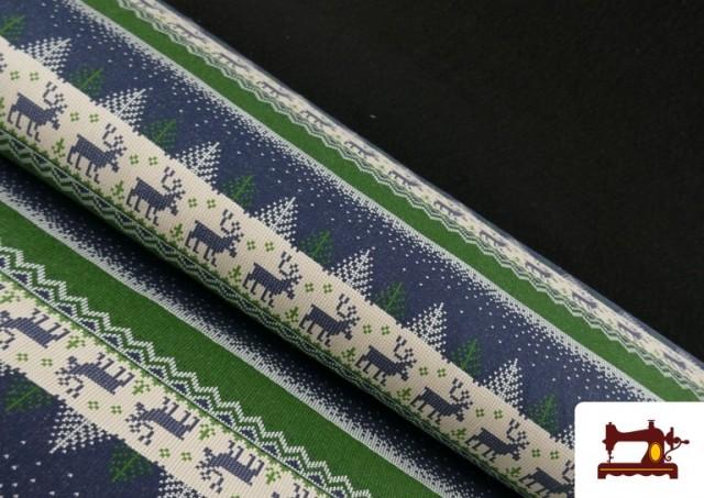 Tela de Sudadera Imitación Jersey de Navidad color Azul
