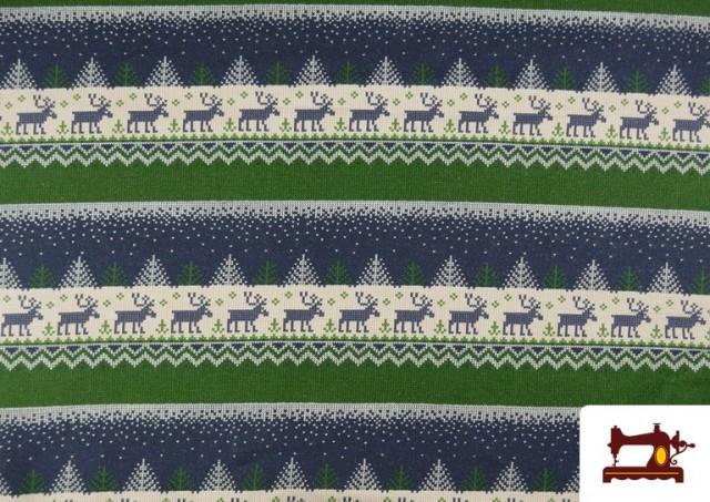 Comprar Tela de Sudadera Imitación Jersey de Navidad color Azul
