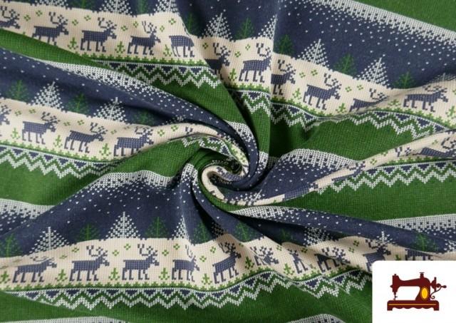 Comprar online Tela de Sudadera Imitación Jersey de Navidad color Azul